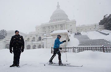 A winter commuter in the nation's capital