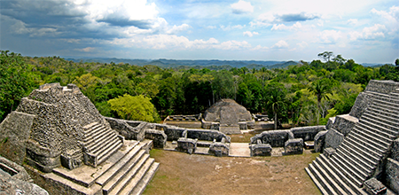 Belize's Mayan ruins with the green jungle behind