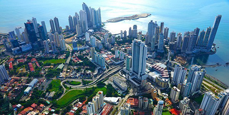 Panama City aerial view on a sunny afternoon