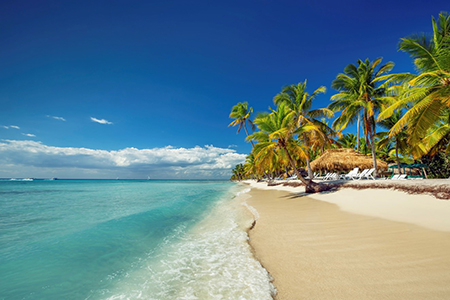 A white sand beach and turquoise waters in Las Terrenas
