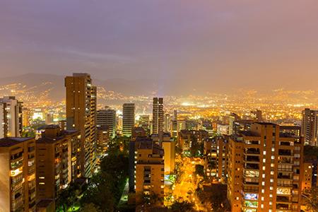 Medellin's skyline at night