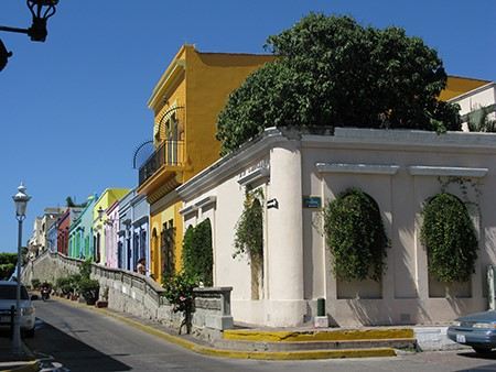 Colorful colonial houses in Latin America