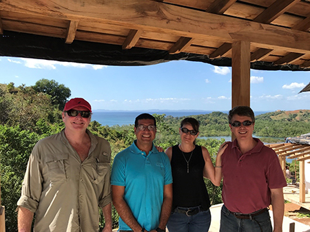 Left to right: Robert Kroesen, Los Islotes Project Manager, Ángel Sánchez, Kathleen Peddicord, and Lief Simon on the deck of the Founder's Lodge
