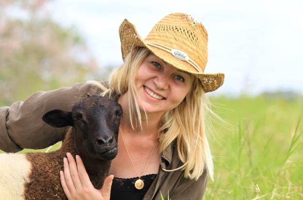 A lady and a sheep