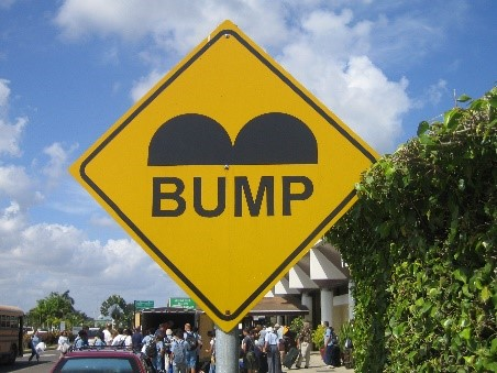 Speed bump sign in Belize