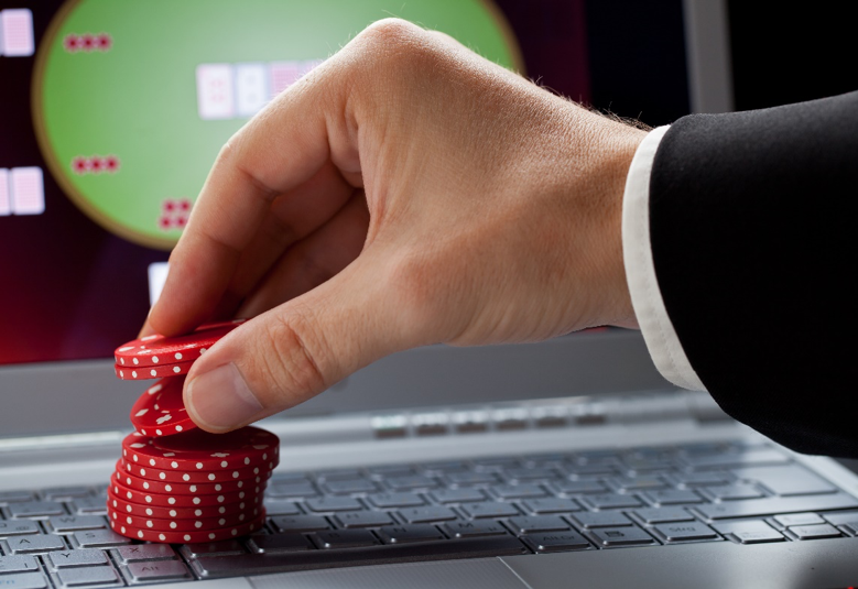 A man with casino chips