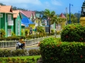 Colorful houses line the streets of Samana, Dominican Republic.