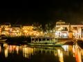 A brightly lit dock in Hoi Un Vietnam