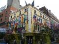 International flags fly outside a pub in Dublin, Ireland.