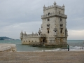 The fortified Tower of Belem on the coast near Lisbon, Portugal.