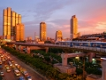 Sunsets over the Skytrain tracks in Bangkok, Thailand.