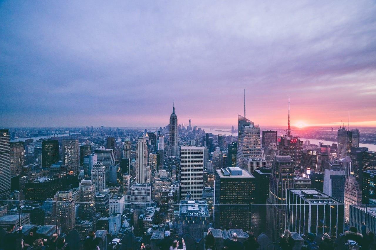 aerial veiw of new York City skyline at sunset
