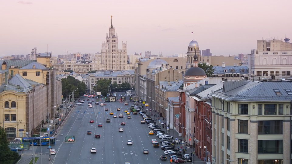 a wide boulevard in downtown moscow