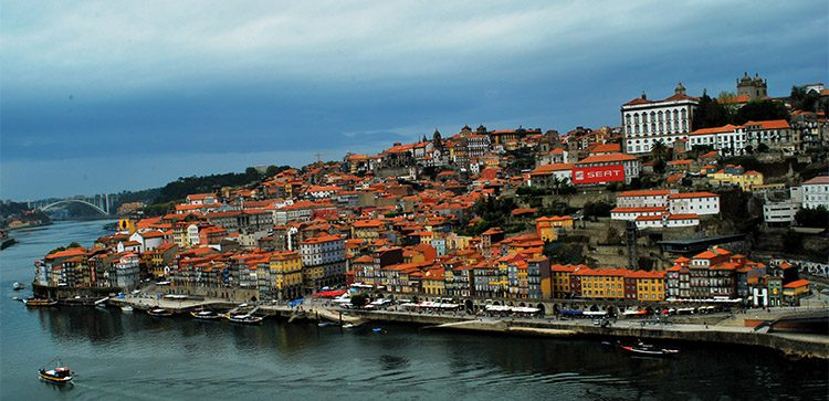 red roofed buildings on a hill by the water in Portugal