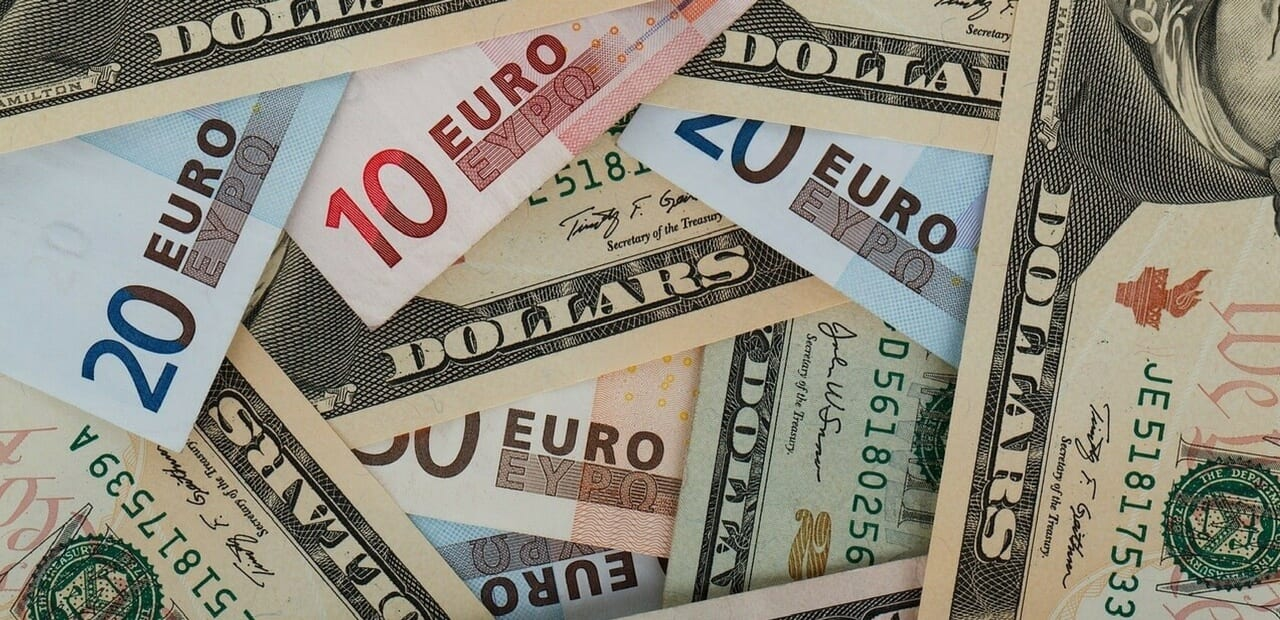 a pile of dollars and euros
