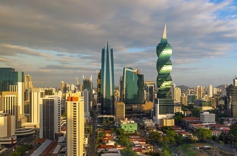The modern urban skyline of Panama City, Panama