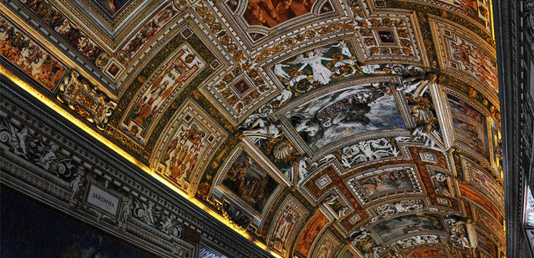 the many paintings of the domed roof of the Sistine Chapel