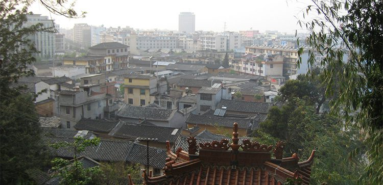 the rooftops of a quiet town in tonghai china
