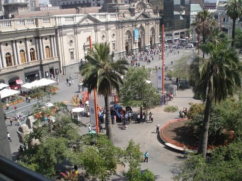 Overlooking a plaza in Santiago