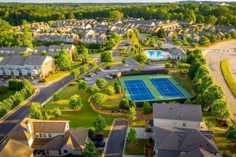 Aerial picture of suburban gated community
