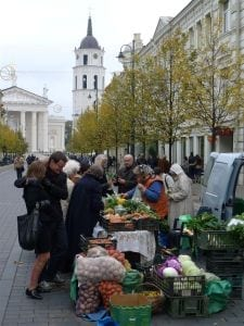 Vegetable Market on Gediminas Street in Vilnius