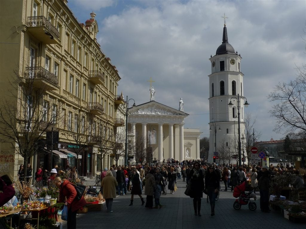 View down Gediminas St. toward Cathedral Vilnius