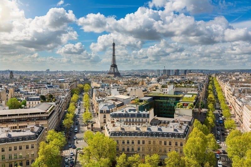 Skyline of Paris with Eiffel Tower.