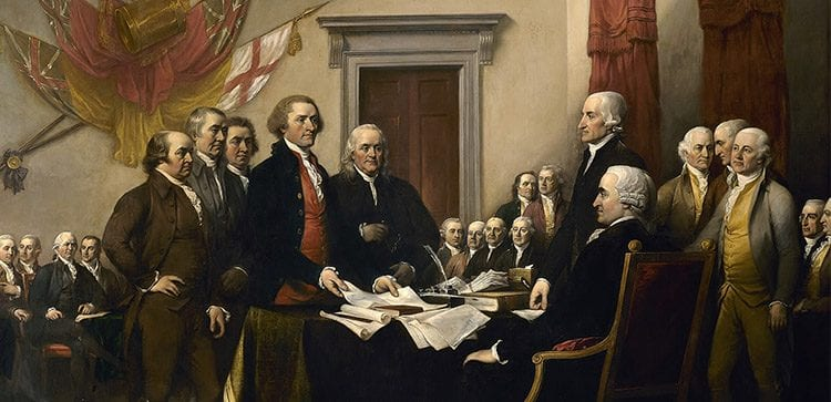 Declaration Of Independence being signed in 1776.