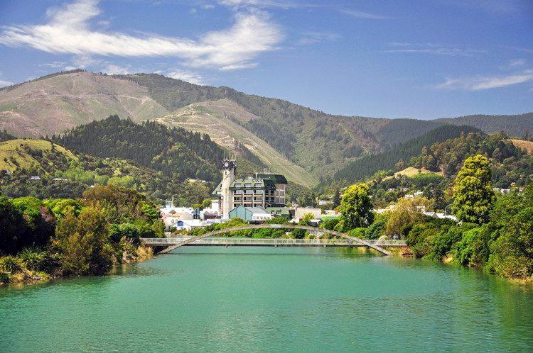 Civic Centre across Maitai River, South Island, New Zealand