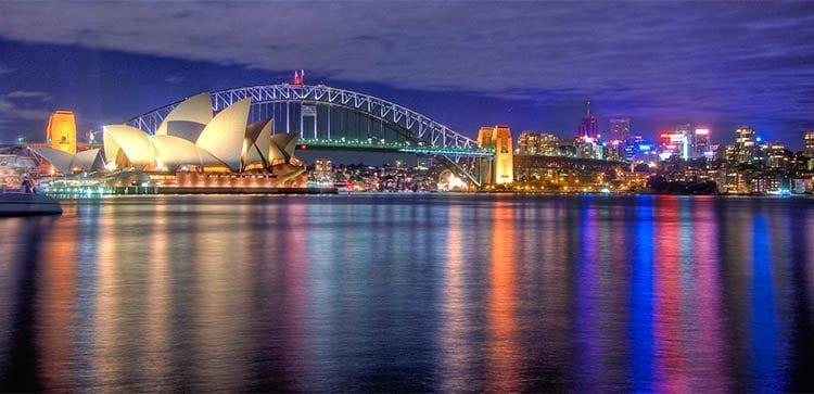 a nighttime view of Sydney, Australia