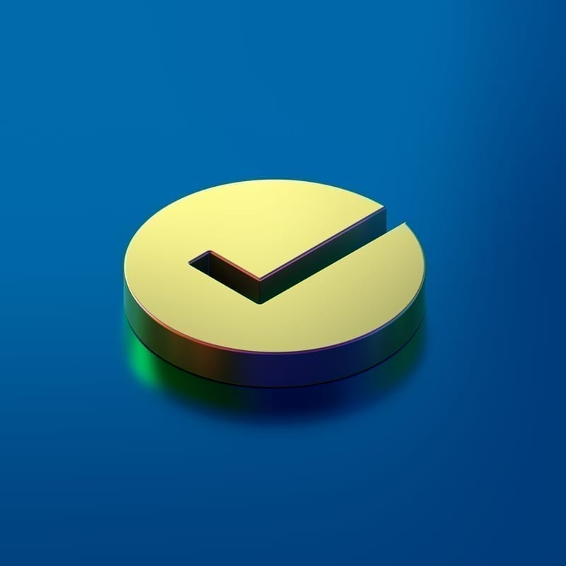 Icon of gold isometric check