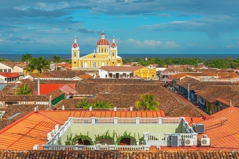 The complete urban skyline of Granada, Nicaragua