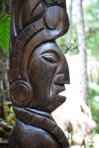 Wooden mayan sculpture in Belize
