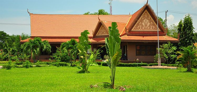 Classic Cambodian home with pointed roof