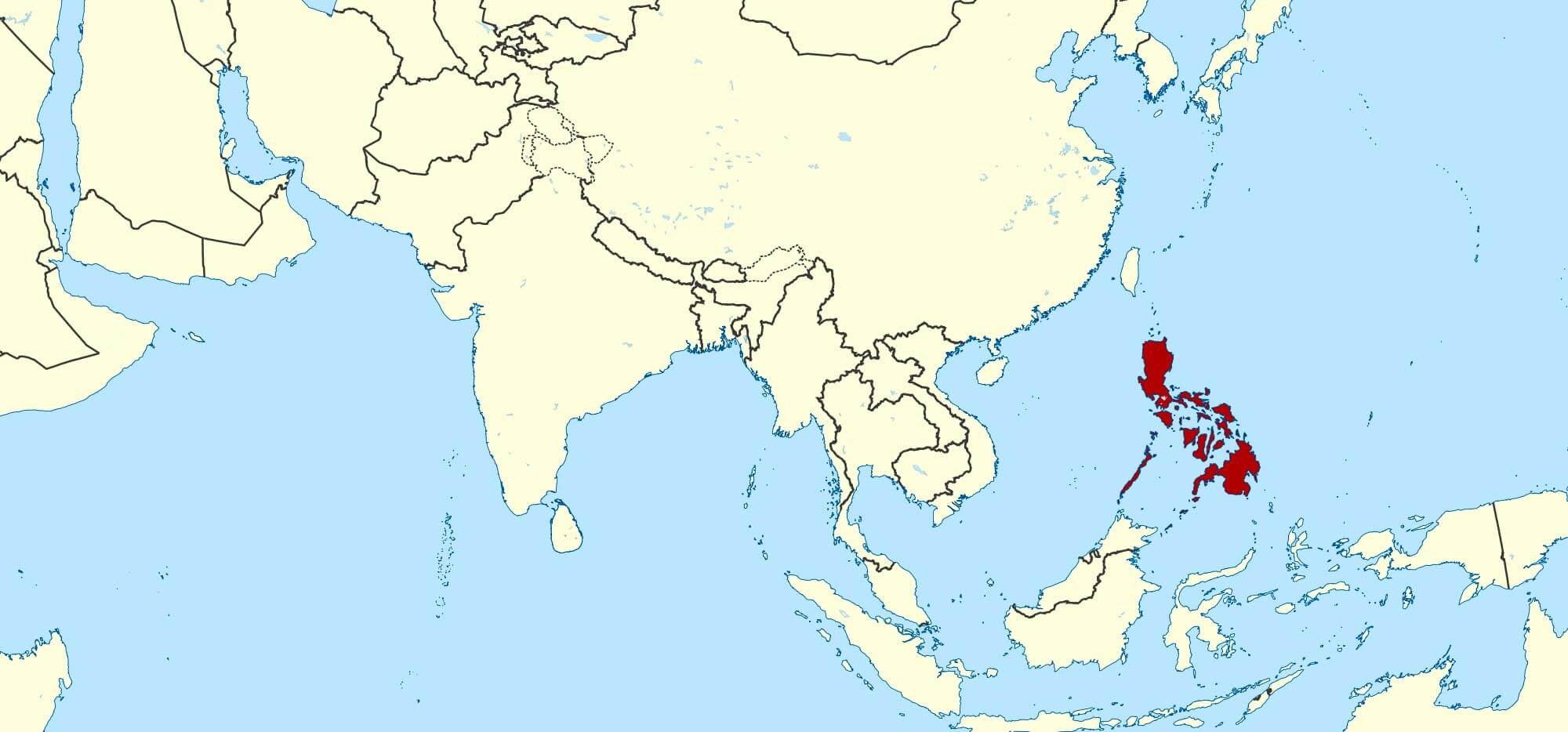 Map showing the location of the Philippines in Asia