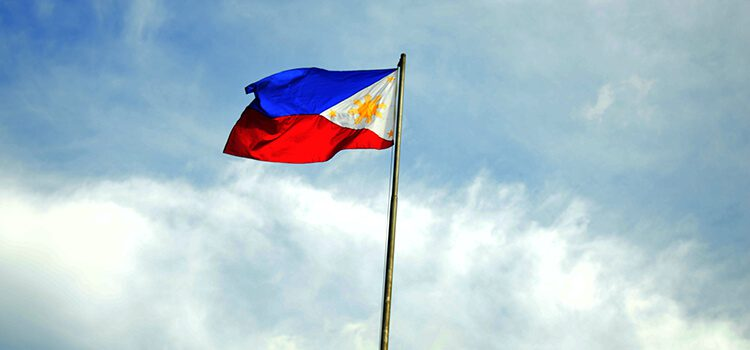 Filipino flag blowing in the wind