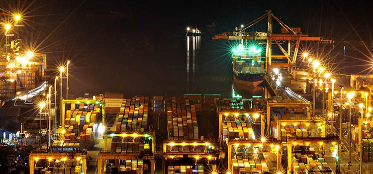 Containers in Port of Manila at night