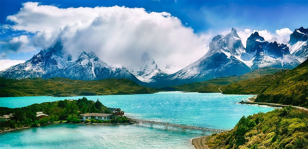 ice capped mountains nad river in Chile