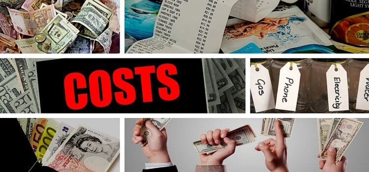 A collage of budgets, costs, currencies, and shopping lists