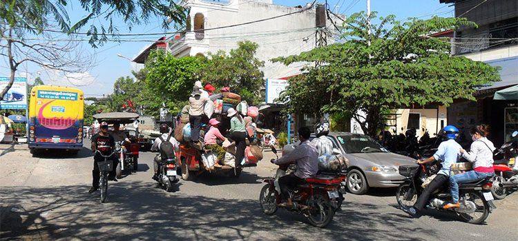 Traffic in a popular street in Cambodia