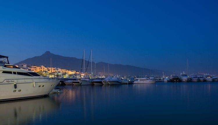 yachts docked at a mraina in Marbella Spain