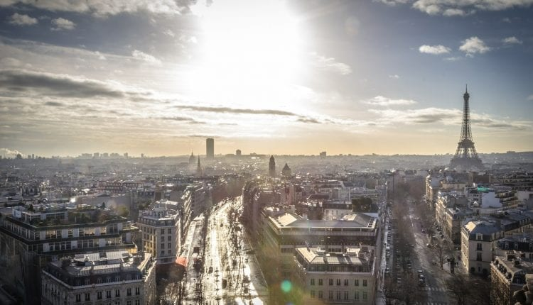 aerial view of Paris with lens flare