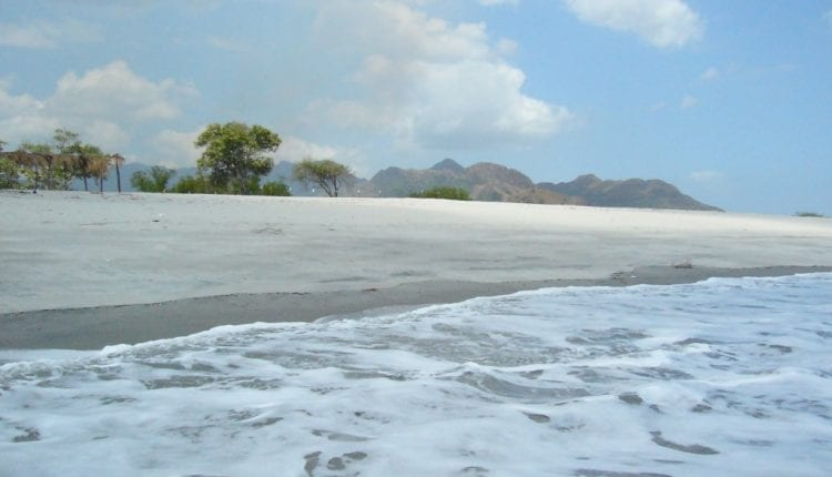 water lapping onto beach in Chame Panama