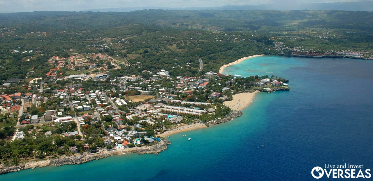 An aerial view of Las Terrenas, Dominican Republic