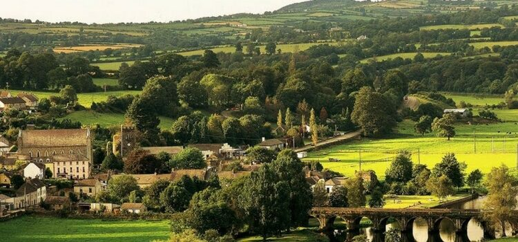 A beautiful view of the green trees and land spread across Kilkenny county in the Barrow Region of Ireland.