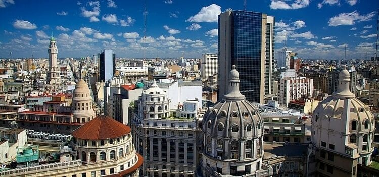 A view of the buildings in downtown Buenos Aires, Argentina.