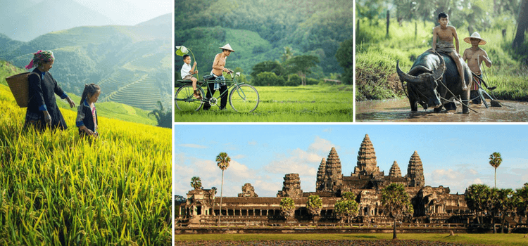 a collage of images of cambodia
