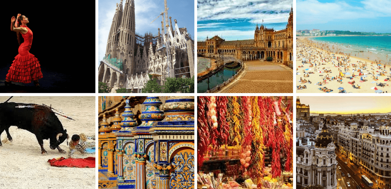 Collage of images of Spain