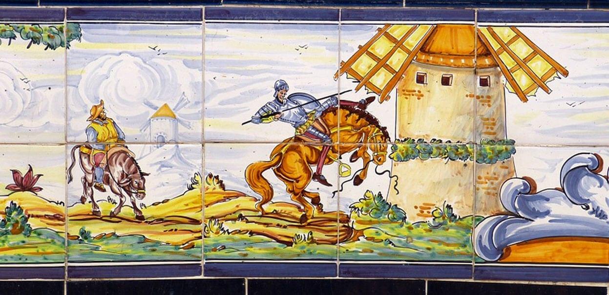 Close up of Spanish Tiles depicting Don Quixote and Sancho Panza