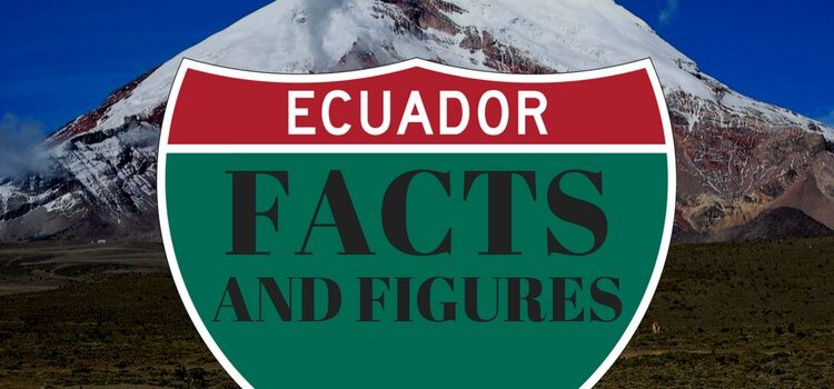 Road sign with Ecuador Fact and Figures printed on it.